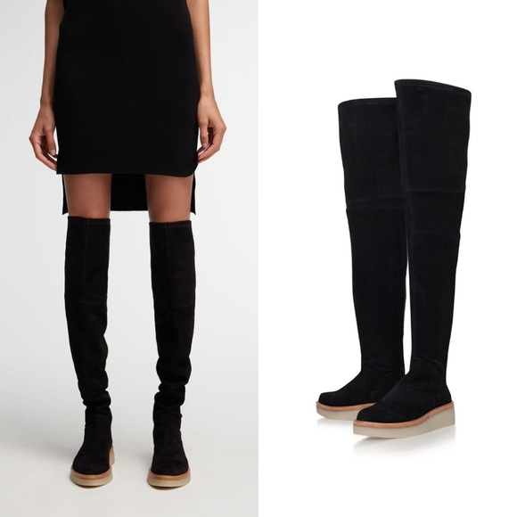 Dkny Black Suede Over The Knee Boots
